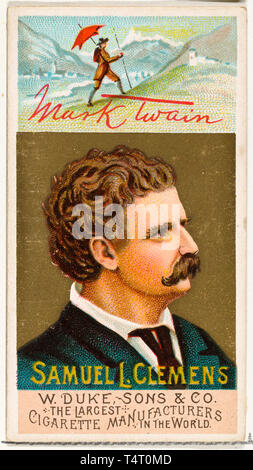 Mark Twain - Samuel L. Clemens (1835-1910), cigarette card portrait painting, 1888 - Stock Image