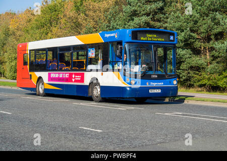 Stagecoach single deck bus on a rural road displaying  Not in Service on its destination board - Stock Image