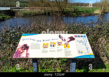 Information sign beside the River Avon at Stratford sub Castle UK - Stock Image