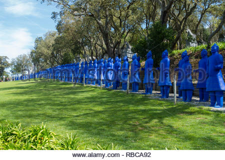 replica of terracotta army painted in blue. Located at the Buddha Eden Gardens, Quinta dos Loridos, Bombarrel, Portugal - Stock Image