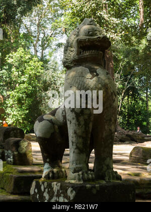 Statue of Dragon in ruins of Ta Prohm modern name of Angkor temple Siem Reap Province Cambodia built in the Bayon style in  1186 A.D Buddhist temple - Stock Image
