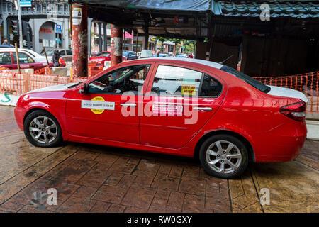Taxi Sign, Haggling Prohibited. Jalan Petaling Street Market, Chinatown, Kuala Lumpur, Malaysia. - Stock Image