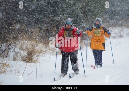 Two skiers ski in the Mora Vasaloppet during a snowstorm on February 10, 2013 near Mora, Minnesota. - Stock Image