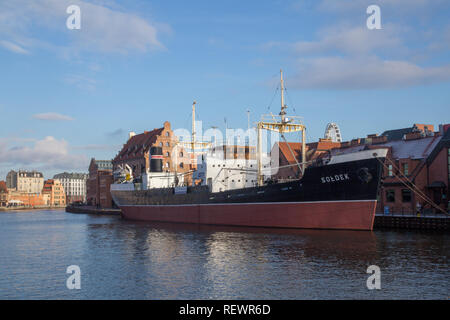 Museum ship Soldek in Maritime museum at the Motlawa River in Gdansk – National Maritime Museum - Stock Image