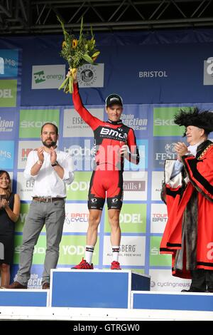 Bristol, UK.  10th September 2016. Tour of Britain stage 7b, circuit race. The race winner, Rohan Dennis of BMC, - Stock Image