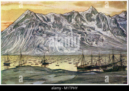 Halftone illustration of the Arctic Coast and a fleet of fishing boats. Home of the eskimos, circa 1900. From an - Stock Image