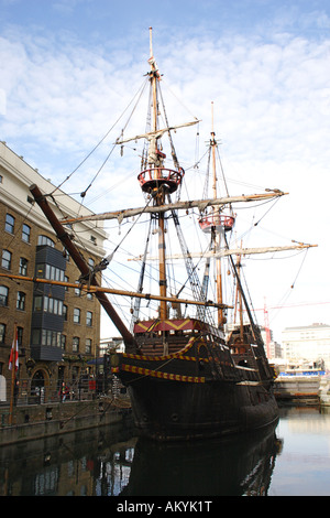 The Golden Hind replica ship London - Stock Image