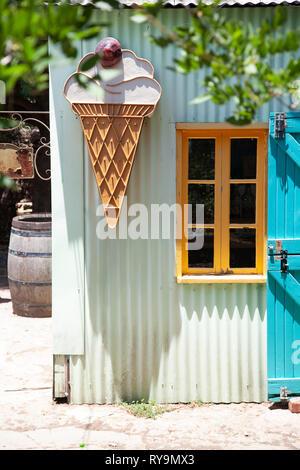 Corrugated Building With IceCream Motif - Stock Image