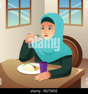 A vector illustration of Muslim Woman Eating Breakfast at Home - Stock Image
