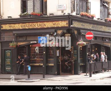 Golden Lion Pub Romilly Street Soho London - Stock Image