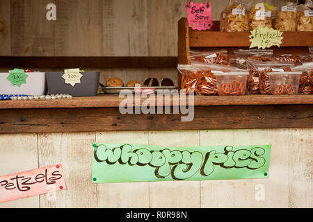 a sign for whoopie pies - the rural American classic - featuring an unusual spelling at an Amish farm in Lancaster County Pennsylvania, USA - Stock Image