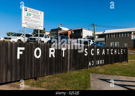 By the entrance of Fort Scratchley in Newcastle, New South Wales, Australia. - Stock Image