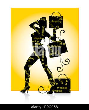 Shopping Girl Silhouette - Stock Image