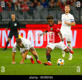 Optus Stadium, Burswood, Perth, W Australia. 17th July 2019. Manchester United versus Leeds United; pre-season tour; Angel Gomes of Manchester United has a shot from just outside the box Credit: Action Plus Sports Images/Alamy Live News - Stock Image