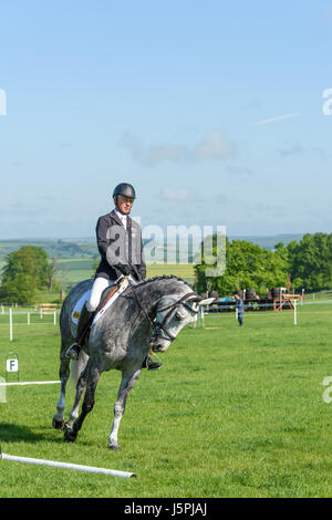 Rockingham Castle, Corby, England. 18th May 2017. Andrew Nicholson, a New Zealand olympic rider, prepares for the - Stock Image