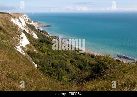 view looking east along the cliff-tops at Capel-le-Ferne looking towards Samphire Hoe, Kent - Stock Image