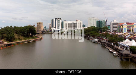 Done photograph of the Hilton Hotel standing out as a landmark on the Kuching Riverside, Sarawak, Malaysia - Stock Image