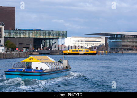 Netto-Bådene Boat Trip near Royal Danish Playhouse, a  theatre building for the Royal Danish Theatre, from a Harbour bus, Copenhagen, Denmark - Stock Image