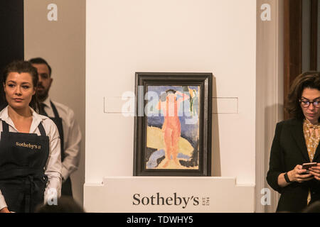 London UK. 19th June 2019. 'Nu au bord de la mer '  by Henri Matisse, oil and pencil on canvas. Estimate £ 600,000 which Sold at hammer for £1,500,000m at the Impressionist & Modern Art Evening Auction  at Sotheby's London Credit: amer ghazzal/Alamy Live News - Stock Image
