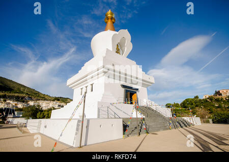 Buddhist temple, monument for peace, Enlightenment Stupa, temple in Benalmádena. Costa del Sol, Spain. - Stock Image