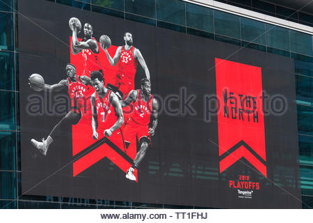 Toronto, Canada, decorations as the Toronto Raptors Basketball team is playing the NBA playoffs for the first time in history. - Stock Image