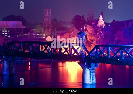 Light and Sound show, Bridge over River Kwai, Kanchanaburi, Thailand - Stock Image