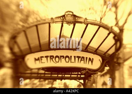 Paris France Metro Abbesses Metropolitan sign art nouveau - Stock Image