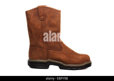 Brown leather boots isolated over a white background - Stock Image