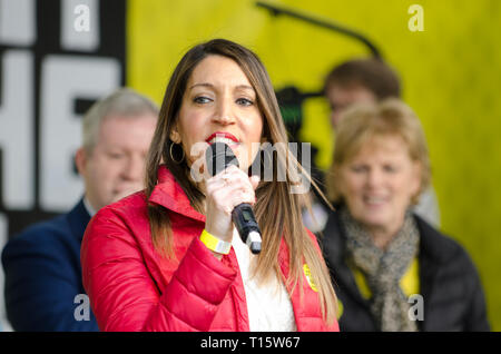 London, UK. 23rd Mar, 2019. Dr Rosena Allin-Khan MP, Labour MP for Tooting, speaking at the People's Vote March and rally, 'Put it to the People.' Credit: Prixpics/Alamy Live News - Stock Image