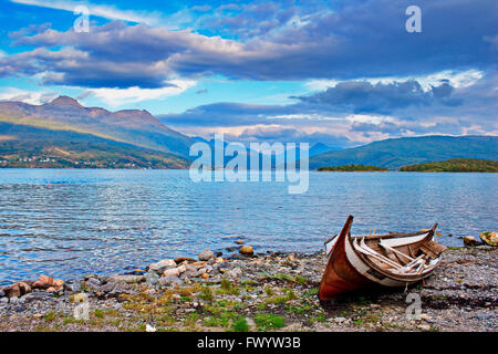 Traditional wooding rowboat at Gratangen fjord  northern Norway. - Stock Image