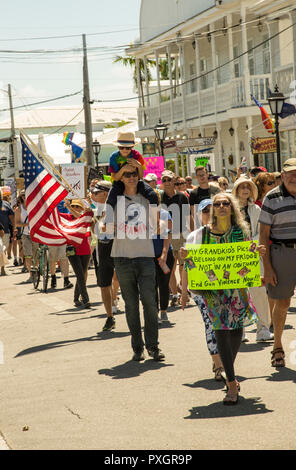 The March For Our Lives, a nationwide protest against gun violence, started at Southernmost Beach and went down Duval Street in Key West to Mallory Square - Stock Image