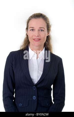 Smiling European business women in her 40's isolated on white - Stock Image