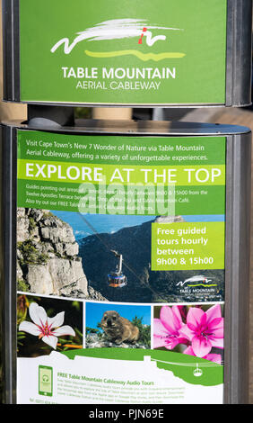 Sign outside the Table Mountain aerial cableway in Cape Town, South Africa - Stock Image