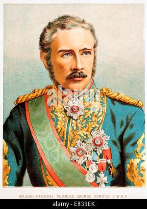 Lithograph Major General Charles George Gordon C B R E - Stock Image