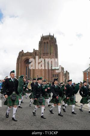 The Carduff Pipe Band At The Liverpool St.Patrick's Day Parade. - Stock Image