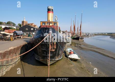 TID steam tug Brent built 1945 Port of London Authority Lighterage tug Maldon Essex historic ship docklands ship london dock tug - Stock Image