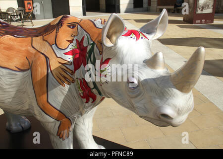 London, UK. 2 1 August 2018. Rhino​ ​Marjorie painted by Eileen Cooper, at  Paternoster Square / St Paul's, part of the 21 Tusk Rhino Trail installations on display in London. The rhinos, embellished by the internationally renowned artist will be on display until World Rhino Day on 22 September to raise awareness of the severe threat of poaching to the species' survival. They will then be auctioned by Christie's on 9 October to raise funds for the Tusk animal conservation charity. Credit: David Mbiyu / Alamy Live News - Stock Image