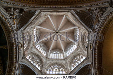 Valencia, Cathedral Interior of the cathedral of Valencia. Gothic dome. Valencia, Spain - Stock Image