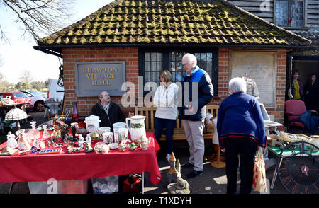 General view outside Village Hall of an Antique, Vintage and Craft Fair, Chawton, near Alton, Hampshire, UK. Sunday 24 February 2019. - Stock Image