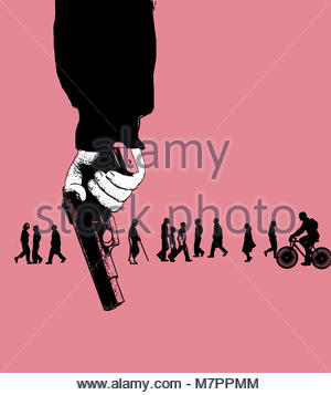 Members of the public unaware of man holding gun - Stock Image