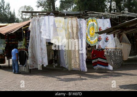 Market Stall Selling Lace Fabrics and Materials, Xochimilco, Mexico City - Stock Image