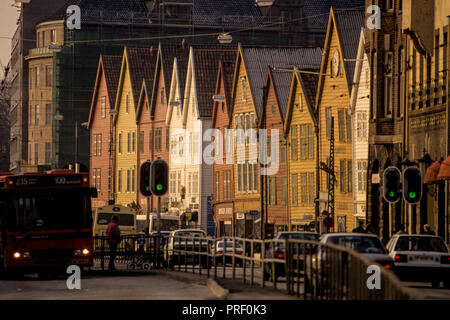 Old houses by the harbor of Bergen in Norway. The town is the center for the oil industry serving the oilfields in the North Sea - Stock Image