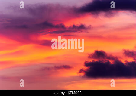 Sunset clouds are colorful sunset clouds in a surreal fantasy like sunset sky. - Stock Image