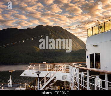 September 17, 2018 - Clarence Strait, AK: Early mornign on stern exterior decks of crusie ship The Volendam she it sails through Clarence Strait, AK. - Stock Image