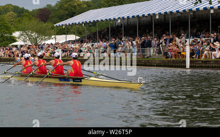 Henley on Thames, Berkshire, UK. 6th July 2019. Henley Royal Regatta  Semi Finals -The Chinese National Rowing Team, streak past the spectators in the Stewards  Enclosure  Grandstand,  beating the Advanced Rowing Initiative of the Northeast, U.S.A. by 1 3/4 lengths. They now   take up the challenge for the The Princess Grace Challenge Cup in  the Finals on Sunday  Credit Gary Bake/Alamy Live Credit: Gary Blake/Alamy Live News - Stock Image