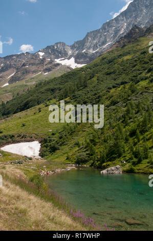 Glacial lake at Fafleralp in the Lötschental Valley, Valais, Switzerland - Stock Image