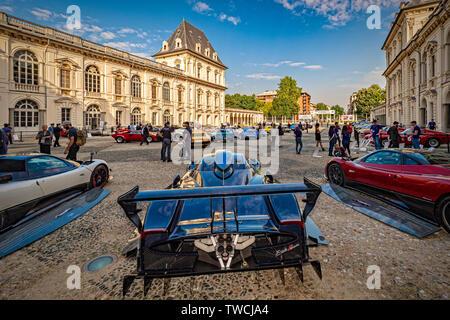 Piedmont Turin - Turin auto show 2019  - Valentino park - Valentino castle  - Pagani Zonda Revolution - Stock Image