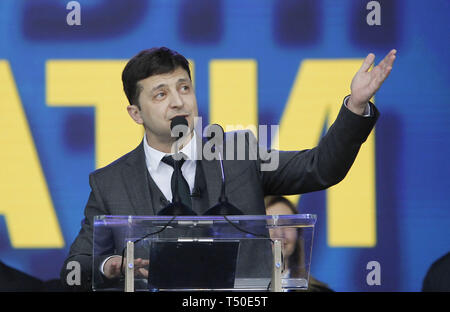 Kiev, Ukraine. 19th Apr, 2019. Ukrainian comedian actor and presidential candidate VOLODYMYR ZELENSKIY speaks during debate with Ukrainian President and Presidential candidate PETRO POROSHENKO (not pictured) at the Olimpiyskiy Stadium in Kiev, Ukraine, 19 April 2019. The second round of presidential elections will held on April 21. Credit: Serg Glovny/ZUMA Wire/Alamy Live News - Stock Image