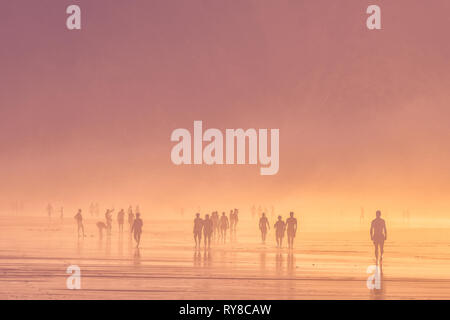 people walking on the beach - Stock Image