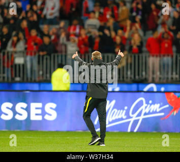 Optus Stadium, Perth, Western Australia. 13th July, 201913th July 2019, Optus Stadium, Perth, Western Australia; Pre-season friendly football, Perth Glory versus Manchester United; Ole Gunnar Solskjaer Manager of Manchester United waves to the Manchester fans after the match against Perth Glory Credit: Action Plus Sports Images/Alamy Live News - Stock Image